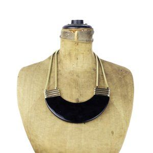 Chunky Black and Gold Bib Necklace